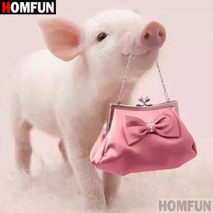 5D Diamond Painting Pink Piglet and a Pink Purse Kit