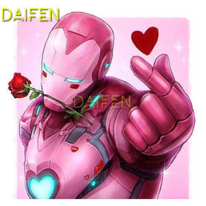 5D Diamond Painting Pink Robot Heart Kit