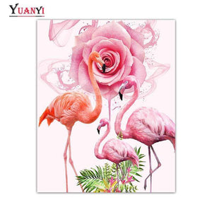 5D Diamond Painting Pink Rose Flamingos Kit