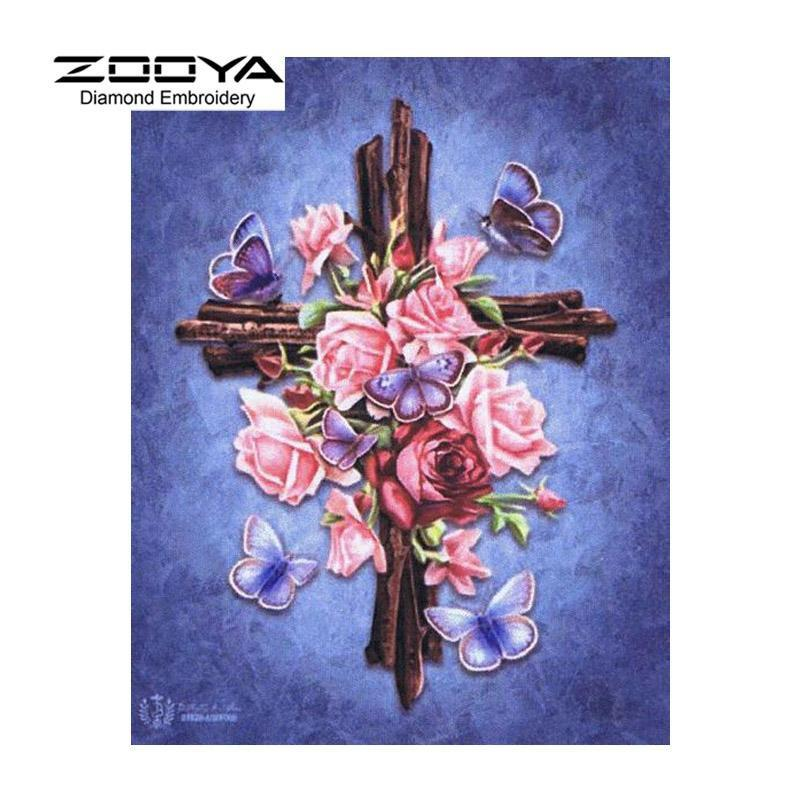 5D Diamond Painting Pink Roses on a Cross Kit