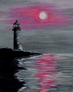 5D Diamond Painting Pink Sky Lighthouse Kit