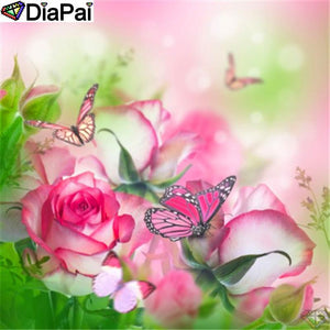 5D Diamond Painting Pink & White Roses Butterflies Kit