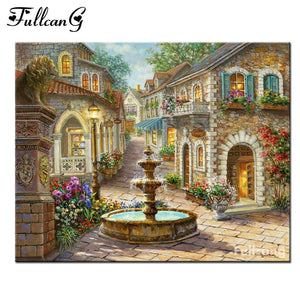 5D Diamond Painting Plaza Fountain Kit