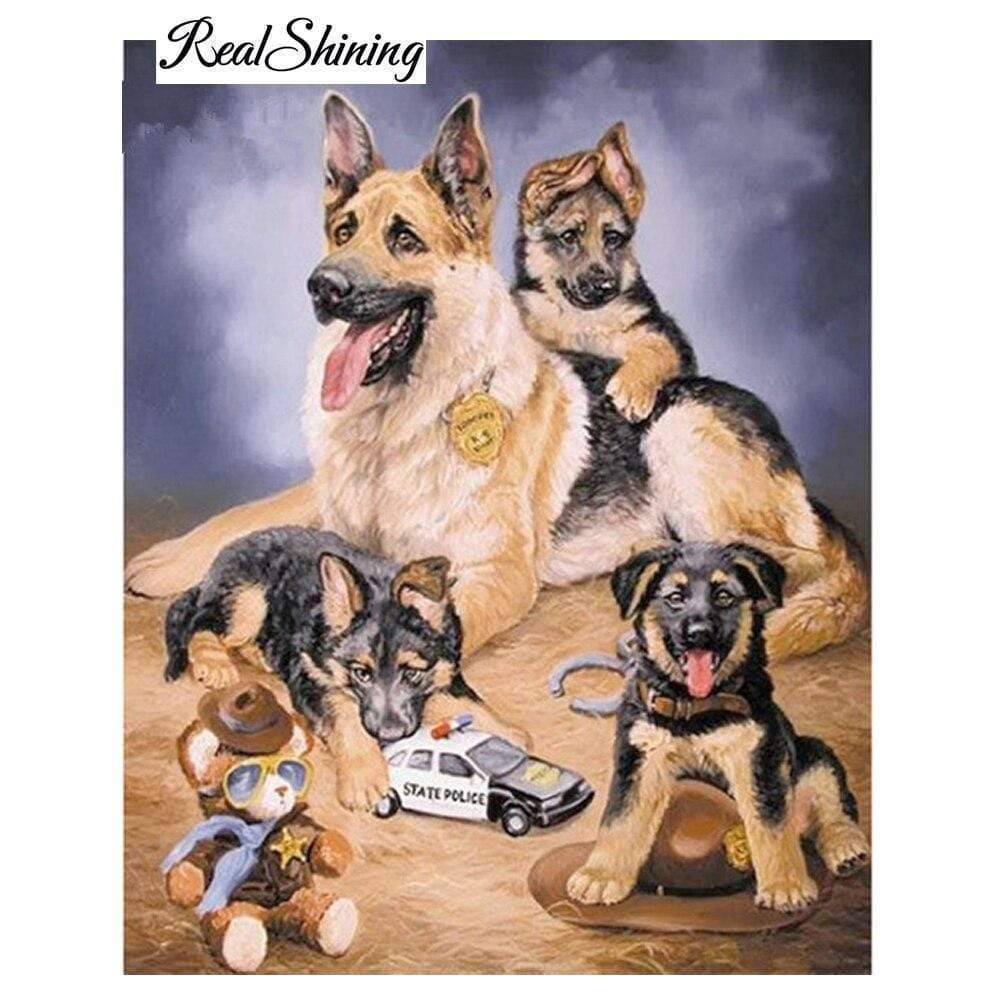 5D Diamond Painting Police German Shepherds Kit
