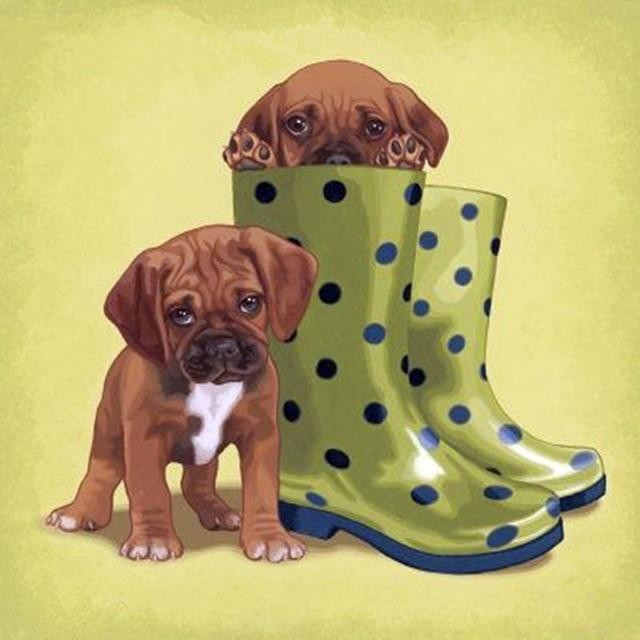 5D Diamond Painting Polka Dog Boot Puppies Kit