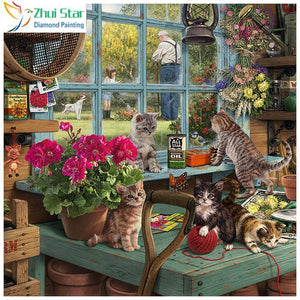5D Diamond Painting Potting Shed Kittens Kit