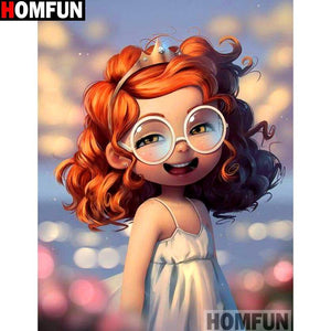 5D Diamond Painting Princess with Glasses Kit