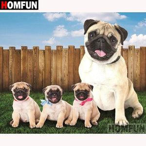 5D Diamond Painting Pug and Three Pug Puppies Kit