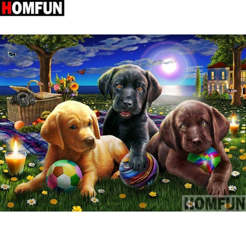 5D Diamond Painting Puppies in the Moonlight Kit