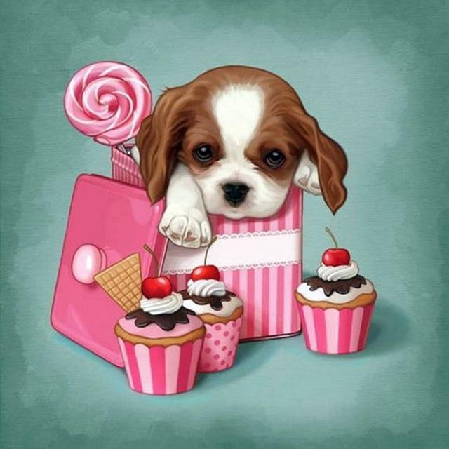 5D Diamond Painting Puppy Cupcake Box Kit