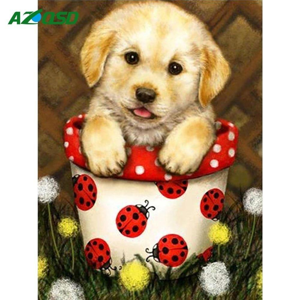 5D Diamond Painting Puppy in a Lady Bug Pot Kit