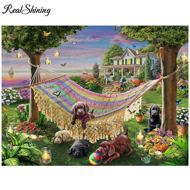 5D Diamond Painting Puppy in the Hammock Kit
