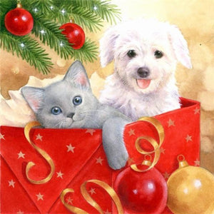 5D Diamond Painting Puppy & Kitten in a Red Box Kit