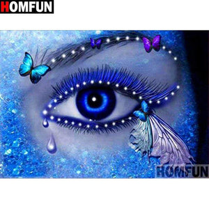 5D Diamond Painting Purple and Blue Butterfly Eye Kit