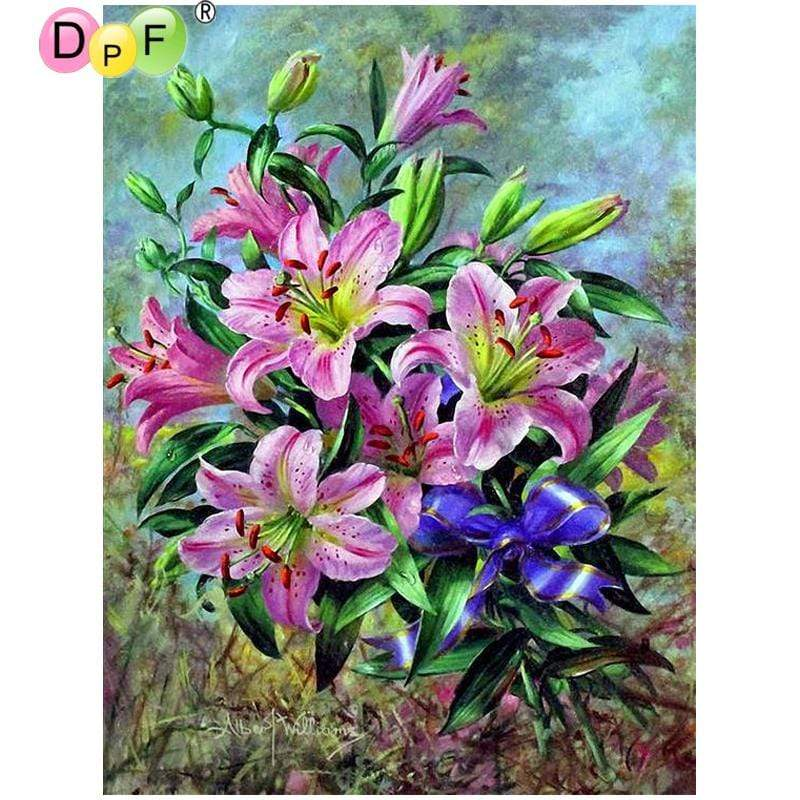 5D Diamond Painting Purple and Pink Lilies Kit