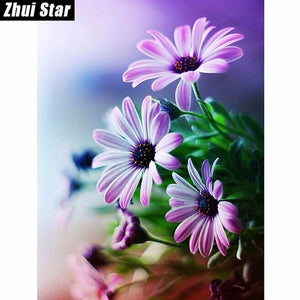 5D Diamond Painting Purple and White Daisies Kit