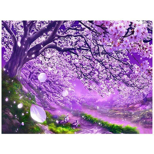 5D Diamond Painting Purple Blossoms in the Wind Kit
