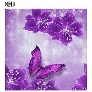 5D Diamond Painting Purple Butterfly and Sparking Flowers Kit