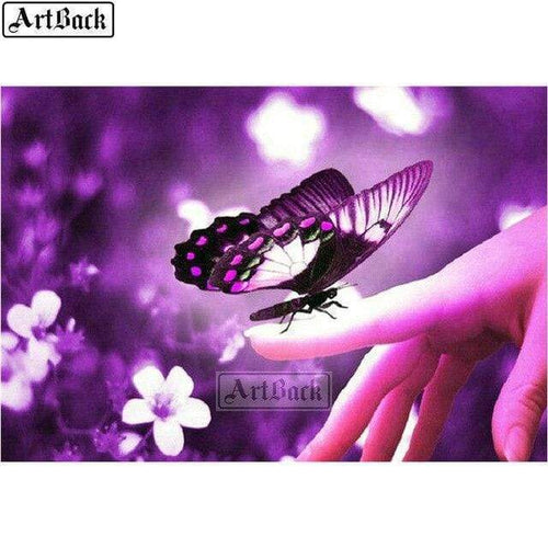 5D Diamond Painting Purple Butterfly on a Finger Kit