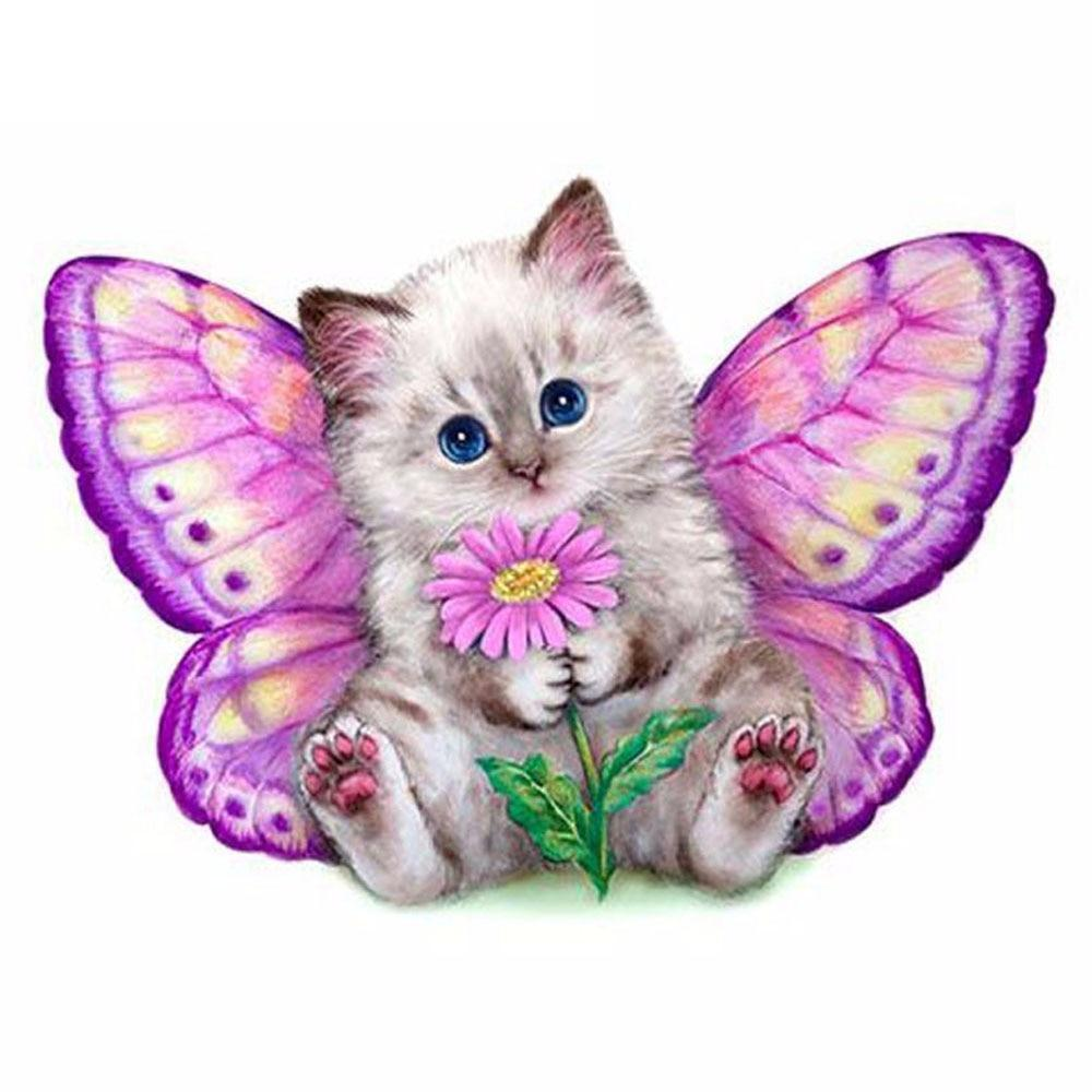 5D Diamond Painting Purple Daisy Butterfly Kitten Kit