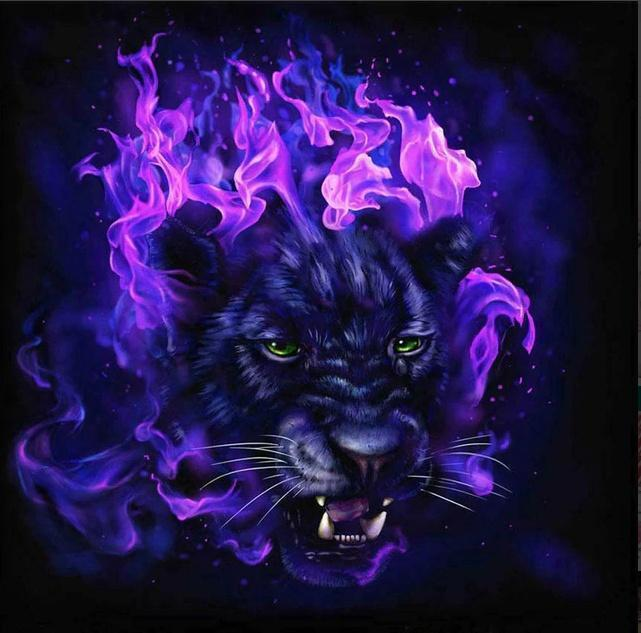 5D Diamond Painting Purple Fire Panther Kit