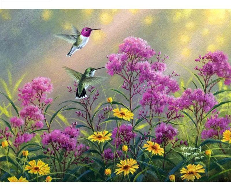 5D Diamond Painting Purple Flower Hummingbirds Kit