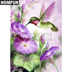 5D Diamond Painting Purple Flowers and the Hummingbird Kit