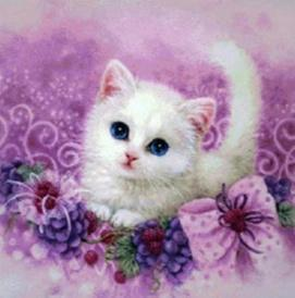 5D Diamond Painting Purple Flowers and White Fluffy Kitten Kit