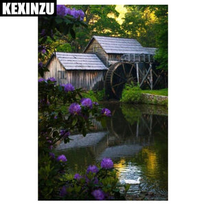 5D Diamond Painting Purple Flowers at the Water Mill House Kit