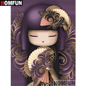 5D Diamond Painting Purple Geisha Girl Kit