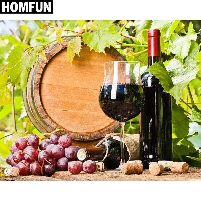 5D Diamond Painting Purple Grape Wine Barrel Kit