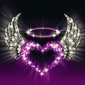 5D Diamond Painting Purple Heart with Wings Kit