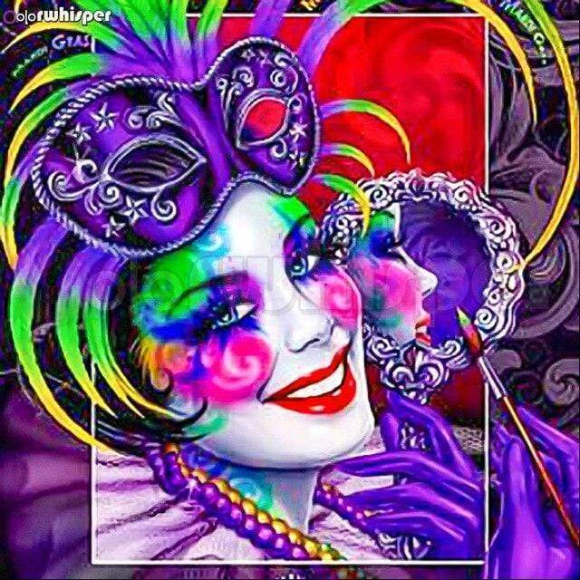 5D Diamond Painting Purple Mask Mardi Gras Kit