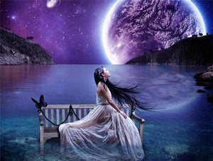 5D Diamond Painting Purple Moon Kit