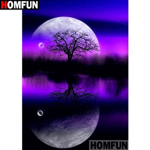 5D Diamond Painting Purple Moon Tree Kit