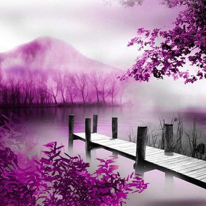 5D Diamond Painting Purple Mountain Lake Kit