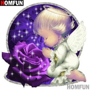 5D Diamond Painting Purple Rose Angel Prayers Kit