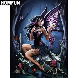 5D Diamond Painting Purple Winged Fairy Princess
