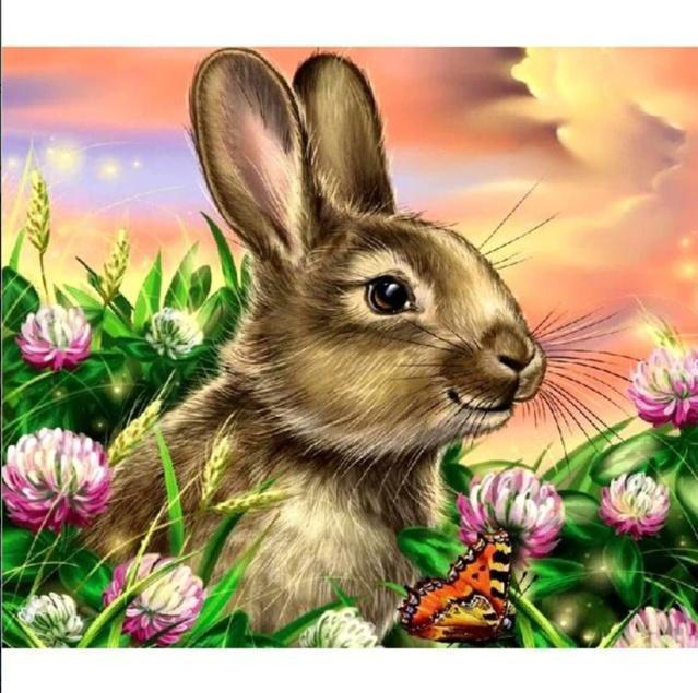 5D Diamond Painting Rabbit and a Butterfly Kit