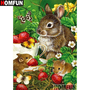 5D Diamond Painting Rabbit and Mice Strawberries Kit