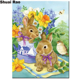 5D Diamond Painting Rabbits and a Bird Kit