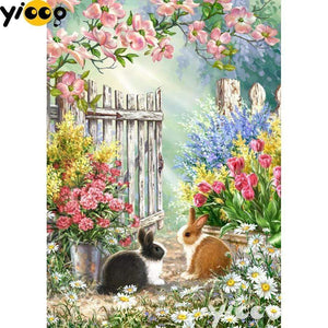 5D Diamond Painting Rabbits by the Gate Kit