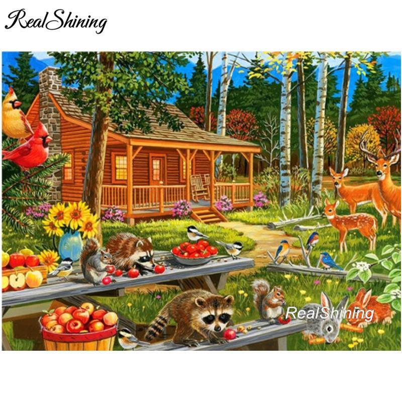 5D Diamond Painting Raccoon and Friends Picnic Kit