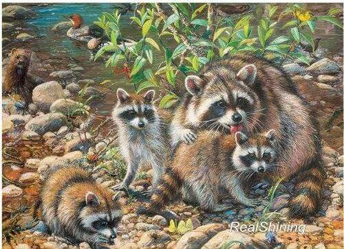 5D Diamond Painting Raccoon Family Kit