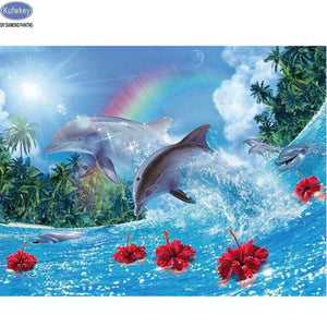 5D Diamond Painting Rainbow Dolphins Kit