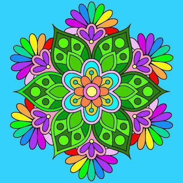 5D Diamond Painting Rainbow Flower Mandala Kit
