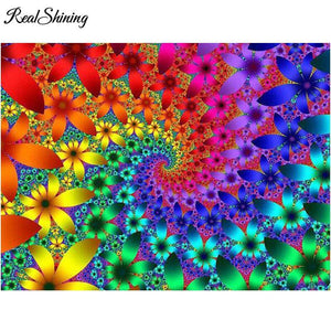 5D Diamond Painting Rainbow Flower Swirl Kit