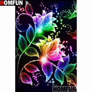 5D Diamond Painting Rainbow Flowers Kit