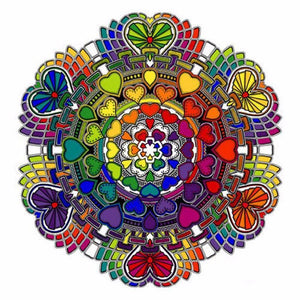 5D Diamond Painting Rainbow Heart Mandala Kit