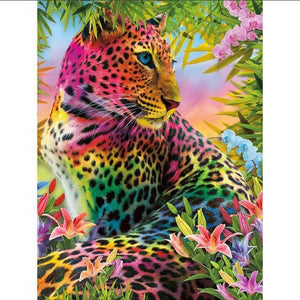 5D Diamond Painting Rainbow Leopard Kit